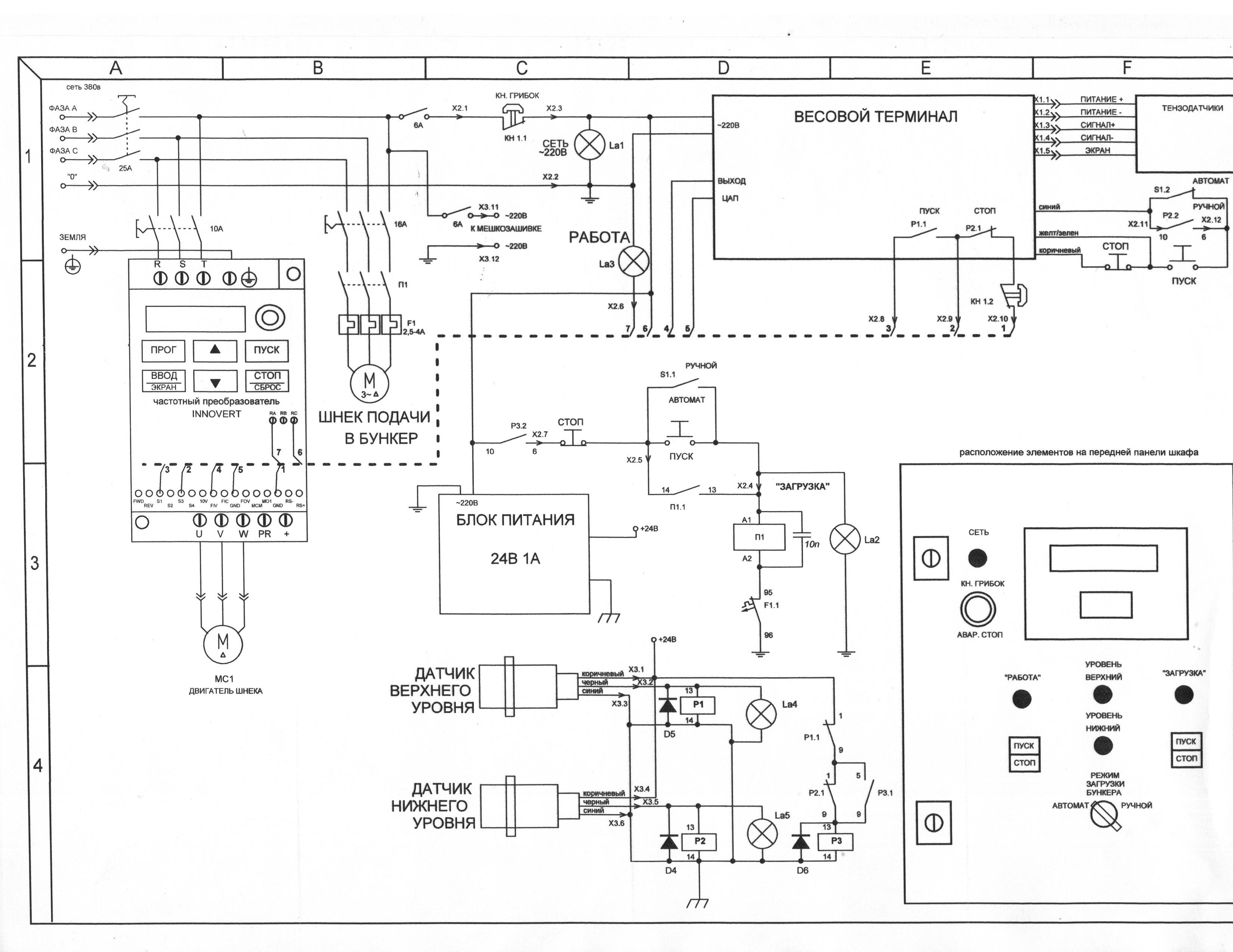 схема электрическая принципиальная щита управления